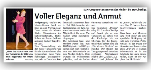 Show that Dance - Tanzgala 2017 - Artikel aus der Rodgau-Post vom 25.01.2018